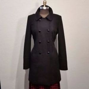 Black Wool Halogen Long Collared Pea Coat sz L
